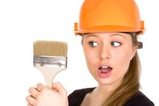 Pretty Woman In Yellow Construction Helmet With Pa Stock Images