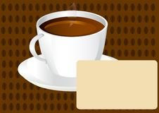 Free Cup Of Black Coffee With Blank Card Royalty Free Stock Photography - 7987567