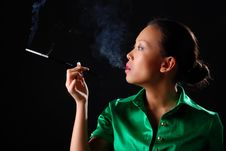Woman With Cigarette Stock Photography
