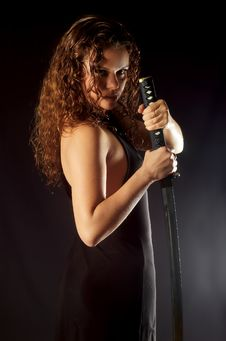 Free Beautiful Girl With Katana Stock Photography - 7987852