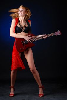 Free Woman With Electric Guitar Royalty Free Stock Image - 7988046
