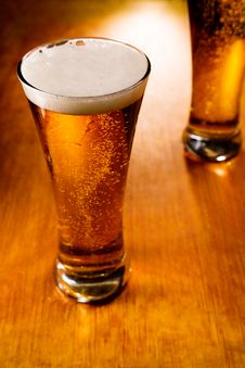 Free Two Beer Glasses, Selective Focus Royalty Free Stock Image - 7988176