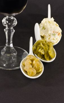Free Russian Salad, Chick-peas And Cases In White Spoon Royalty Free Stock Photo - 7988545