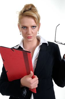 Free Woman With A Red Briefcase In Her Arms Stock Images - 7989004