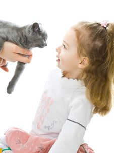 Free Young Girl With Kitten Stock Images - 7989274