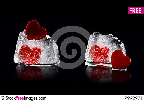 Free Four Hearts In Melting Icecubes 2 Stock Image - 7992971