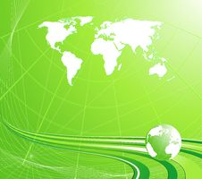 Free Light Green Background With A Globe Royalty Free Stock Image - 7990016