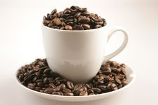 Free Coffee Cup And Beans On White Bacground Stock Photography - 7990292