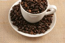 Free Coffee Cup And Beans On Jute Sack Stock Image - 7990461