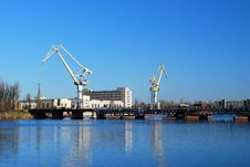 Cargo Cranes In Industrial Sea Port Royalty Free Stock Photo