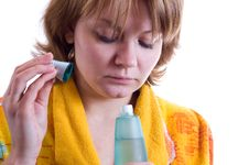 Free Woman Sniffs Perfume Stock Image - 7990951