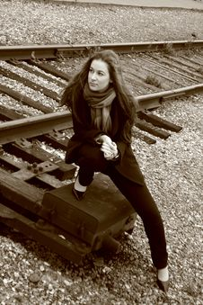 A Girl Near Railroad Stock Photography