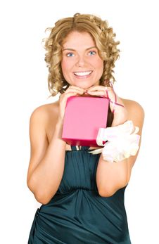 Free Portrait Of A Happy Woman With A Gift In Her Hands Stock Photo - 7991160