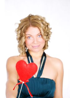 Free Young Blond Holding A Red Heart. Royalty Free Stock Image - 7991426