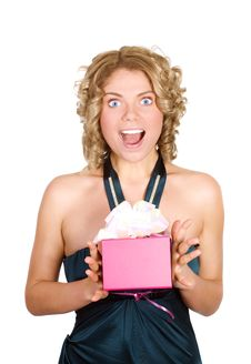 Free Portrait Of A Astonished Woman With A Gift In Her Stock Images - 7991454