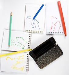 Free Open Palmtop Opposite Four Notebooks Stock Image - 7991611