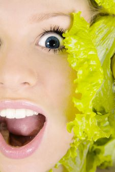 Free Portrait Of  Woman In Salad Leafs. Royalty Free Stock Images - 7992339