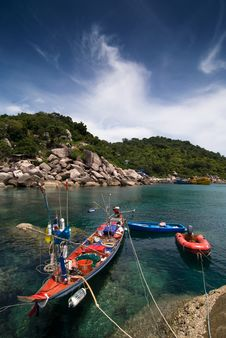 Fishing Boats In A Calm Bay Stock Photography