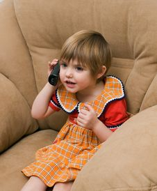 Free The Little Child With Phone Stock Photos - 7992663