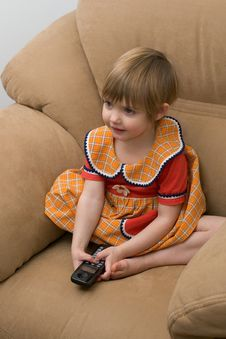 Free The Little Child With Phone Stock Images - 7992754