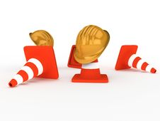 Free Hardhat And Cones Royalty Free Stock Photos - 7992908