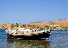 Traditional Greek Fishing Boat Stock Photos