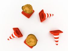 Free Hardhat And Cones Royalty Free Stock Photos - 7993098