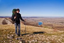 Free Hiker Girl On The Mountain Summit Royalty Free Stock Photos - 7995468