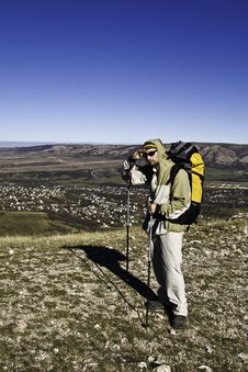 Free Hiker On The Summit Looking Ahead Royalty Free Stock Photography - 7995597