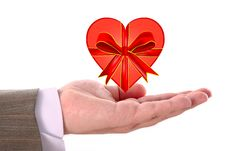 Free Red Heart On Male Hand Royalty Free Stock Photography - 7995697