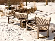 Snowy Benches Royalty Free Stock Photography
