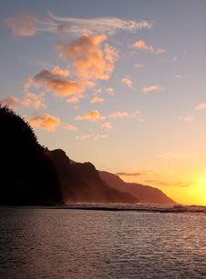 Free Vertical Sunset Of Coastline On Kauai Stock Photo - 7996370
