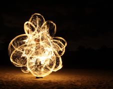 Free Fire Dancer In The Dark Royalty Free Stock Photo - 7996805