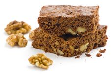 Hot Chocolate Brownie With Walnuts And Vanilla Royalty Free Stock Image