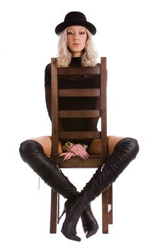 Free Woman With Black Hat In Chair Royalty Free Stock Photography - 7997377