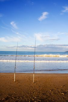 Free Surfcasting Rods At Taipa Beach Royalty Free Stock Images - 7997419