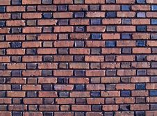 Multi-colored Duo-Sized Brick Wall Stock Photo
