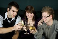 Free Three Friends Toasting Royalty Free Stock Images - 7997809