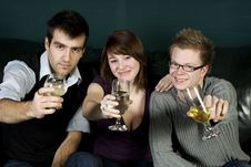 Free Three Friends Toasting To The Camera Stock Photos - 7997813