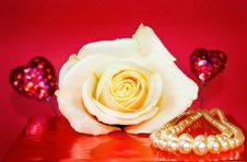 Free Passionate Love - White Rose And Pearls Over Red Stock Images - 7998074
