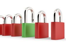 Free Different Green Padlock Royalty Free Stock Photography - 7999927