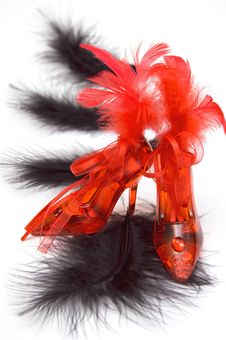 Free Two Red Crystal Slippers With Feathers Stock Photos - 7999963