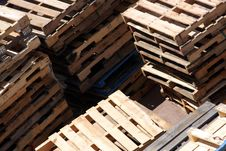 Free Timber Pallets Stacks On A Dock Royalty Free Stock Image - 7999996