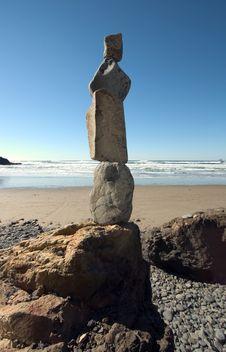 Rocks Stacked At Beach Royalty Free Stock Image