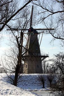 Free Dutch Windmill In The Winter Stock Image - 82761