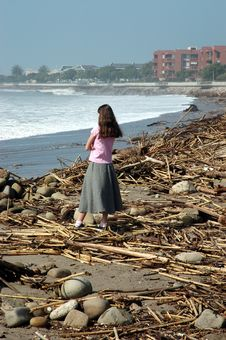 Free Girl Watching Waves Stock Photography - 86142