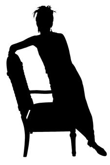 Silhouette With Clipping Path Of Woman On Chair Stock Image