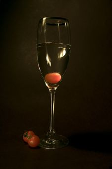 Free Tomato In The Glass In Black Background Stock Photography - 801822