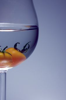 Close Up Of Tomato Inside The Wine Glass Royalty Free Stock Photography