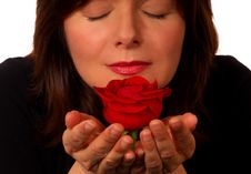 Free Woman With Red Rose Royalty Free Stock Photography - 802567